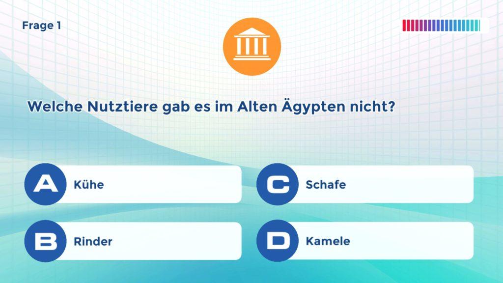 Wissenstraining - Bildschirm mit Frage