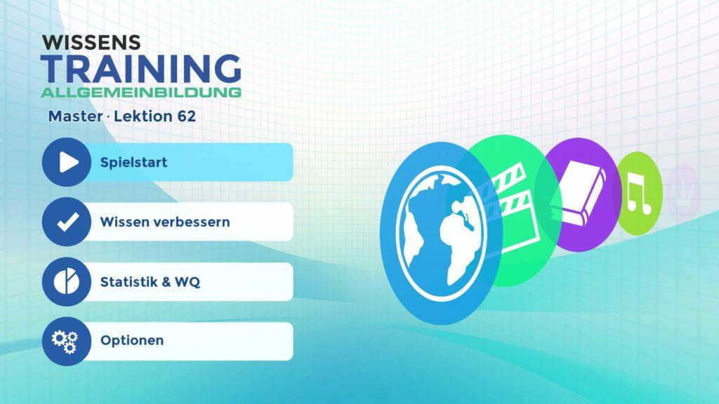 Wissenstraining - Hauptmenü