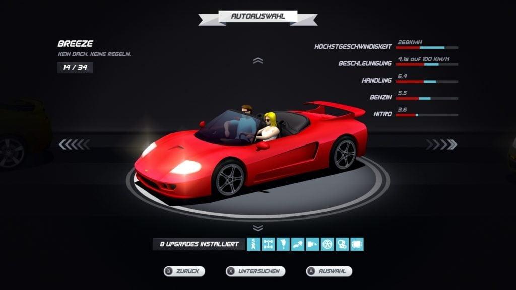 Rotes Cabrio mit zwei Personen