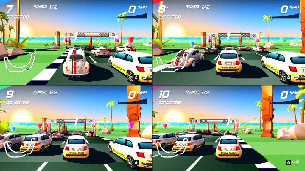 Vierfach Multiplayer auf einem Bildschirm